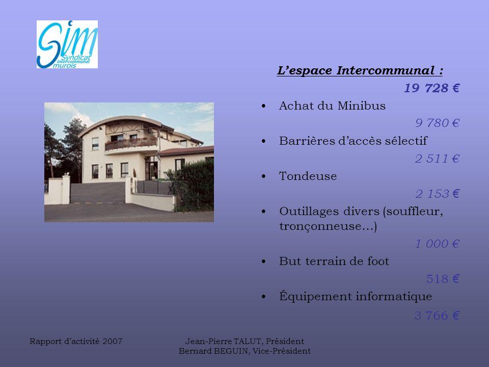 L'espace Intercommunal : 19 728 € Achat du Minibus 9 780 €
