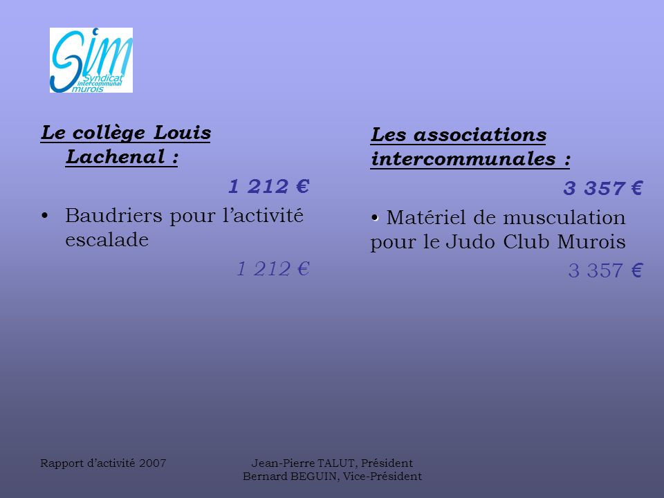 Le collège Louis Lachenal : 1 212 € Baudriers pour l'activité escalade