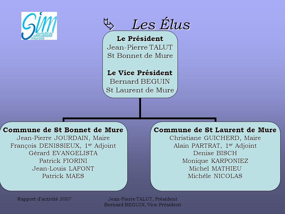  Les Élus Rapport d'activité 2007 Jean-Pierre TALUT, Président