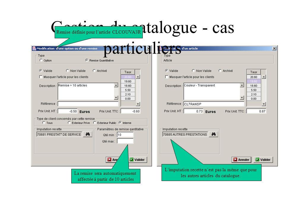 Gestion du catalogue - cas particuliers