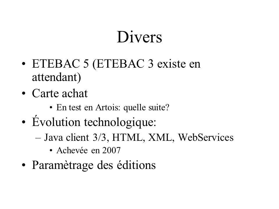 Divers ETEBAC 5 (ETEBAC 3 existe en attendant) Carte achat