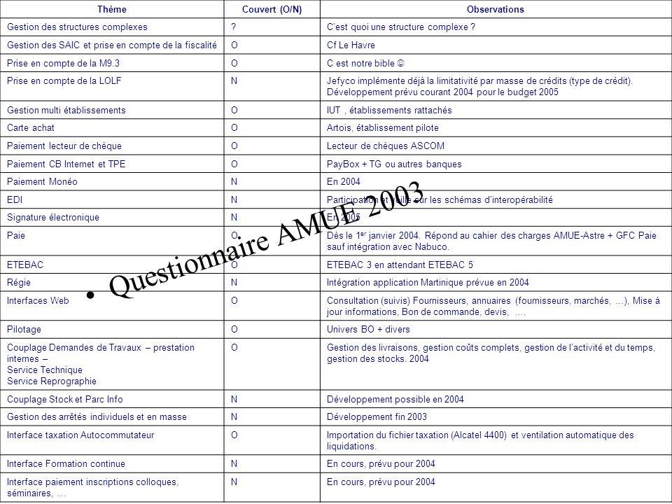 Questionnaire AMUE 2003 Thème Couvert (O/N) Observations