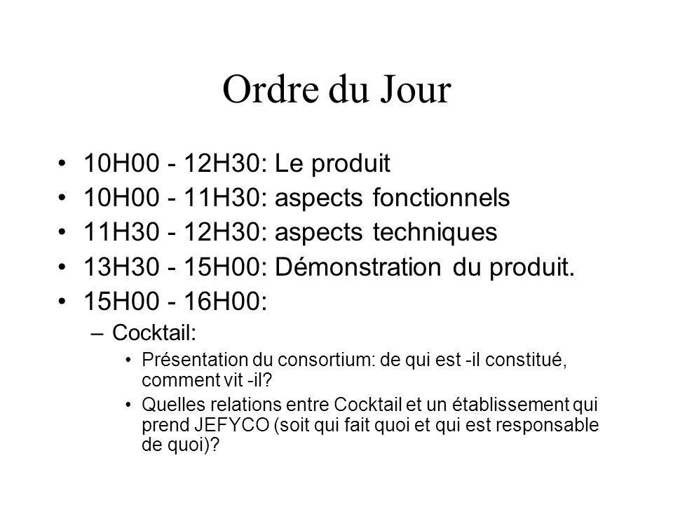 Ordre du Jour 10H00 - 12H30: Le produit