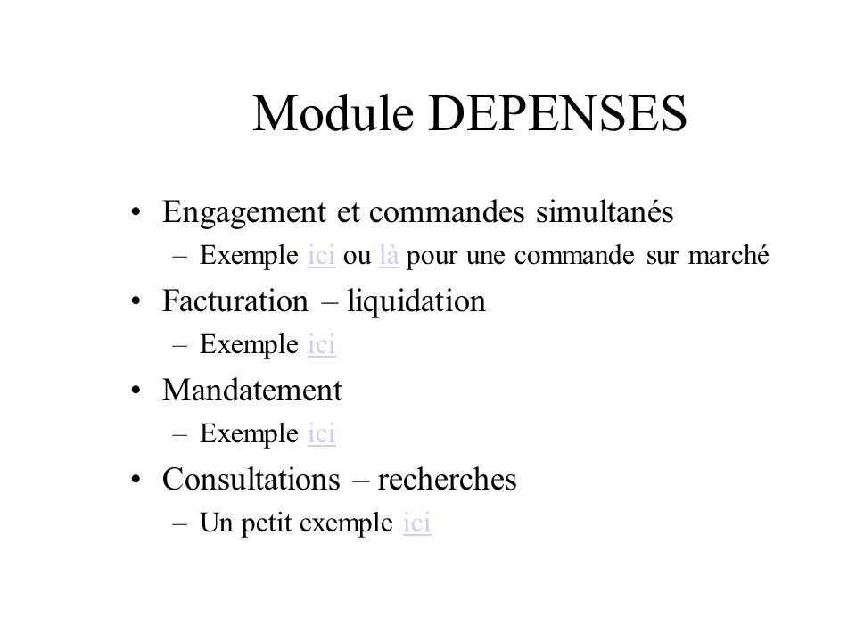 Module DEPENSES Engagement et commandes simultanés