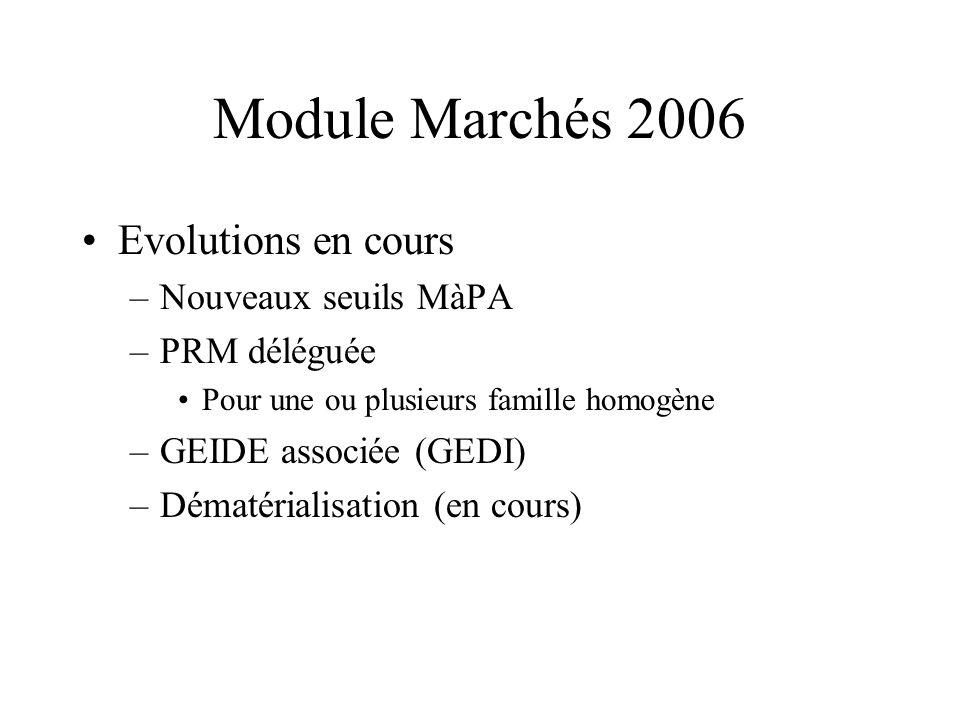 Module Marchés 2006 Evolutions en cours Nouveaux seuils MàPA