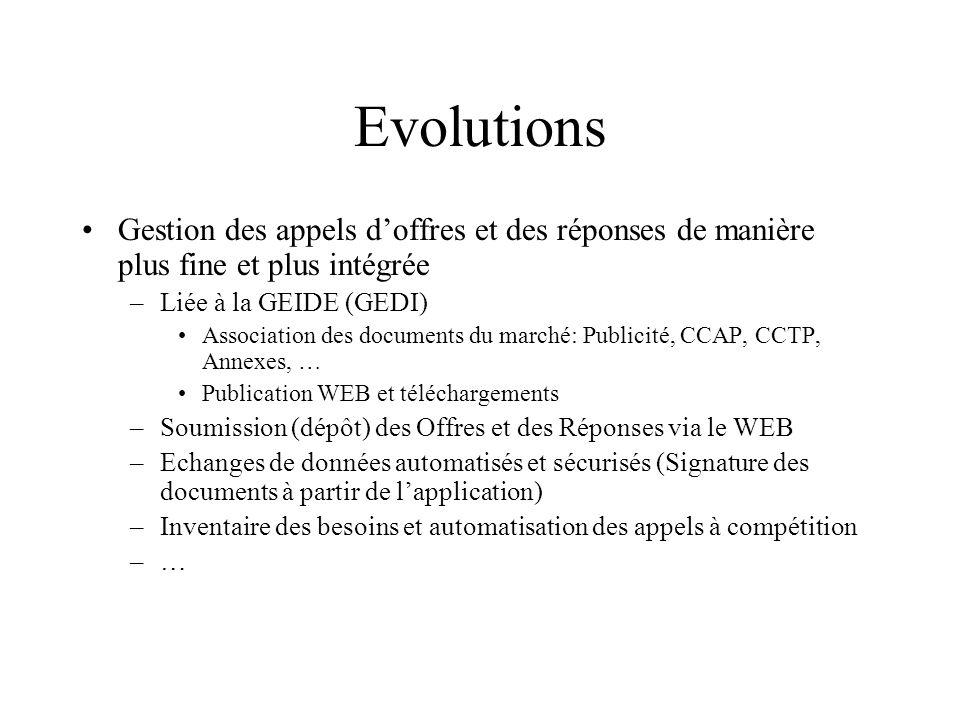 Evolutions Gestion des appels d'offres et des réponses de manière plus fine et plus intégrée. Liée à la GEIDE (GEDI)