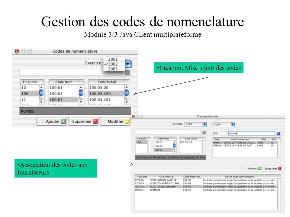 Gestion des codes de nomenclature Module 3/3 Java Client multiplateforme