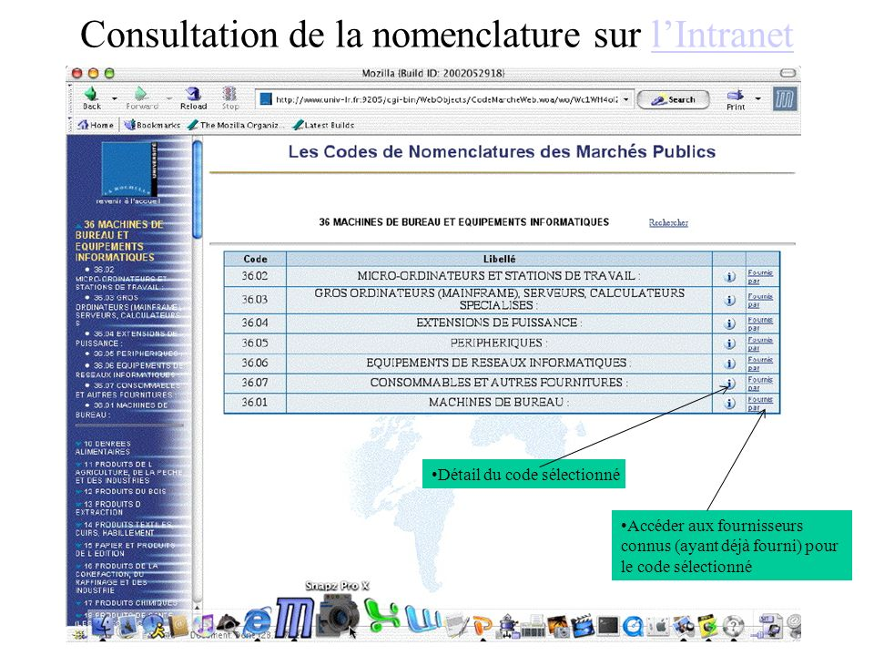Consultation de la nomenclature sur l'Intranet