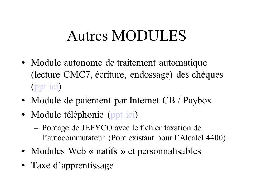 Autres MODULES Module autonome de traitement automatique (lecture CMC7, écriture, endossage) des chèques (ppt ici)