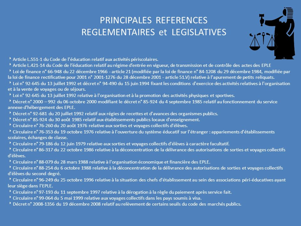 PRINCIPALES REFERENCES REGLEMENTAIRES et LEGISLATIVES