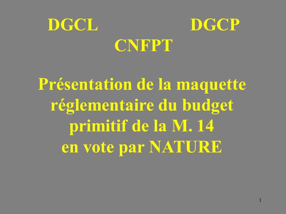 DGCL DGCP CNFPT. Présentation de la maquette réglementaire du budget primitif de la M.