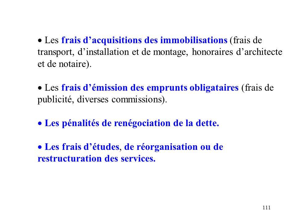 Les frais d'acquisitions des immobilisations (frais de transport, d'installation et de montage, honoraires d'architecte et de notaire).