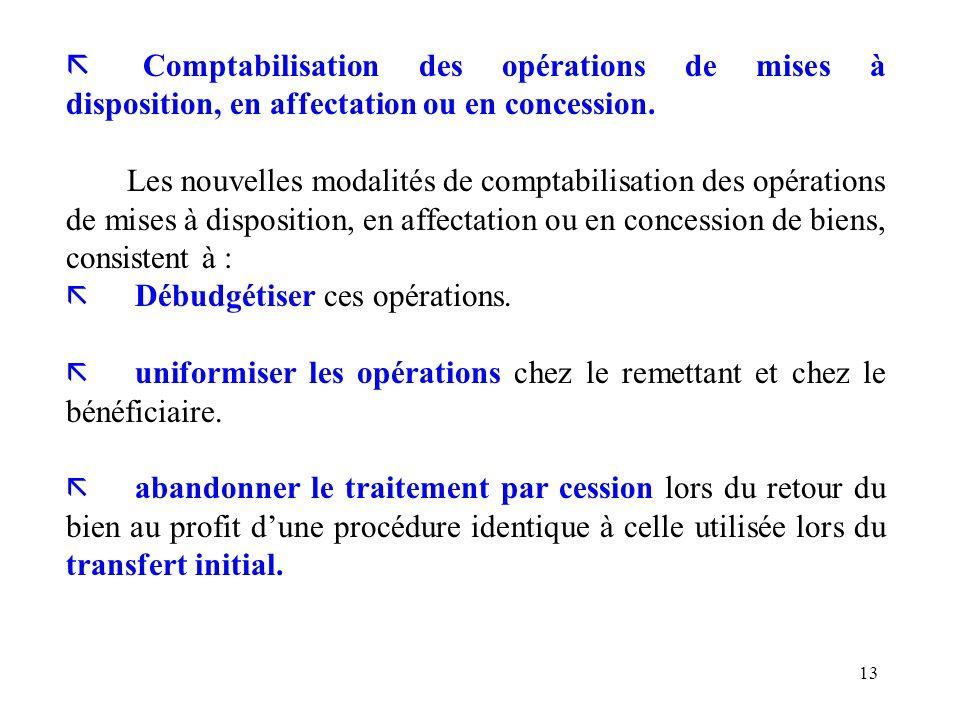 Comptabilisation des opérations de mises à disposition, en affectation ou en concession.