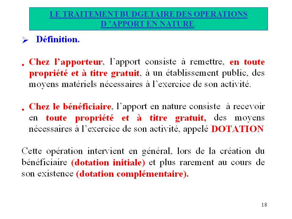 LE TRAITEMENT BUDGETAIRE DES OPERATIONS D 'APPORT EN NATURE.