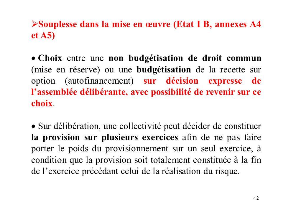 Souplesse dans la mise en œuvre (Etat I B, annexes A4 et A5)
