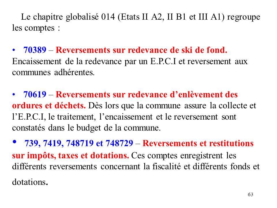 Le chapitre globalisé 014 (Etats II A2, II B1 et III A1) regroupe les comptes :