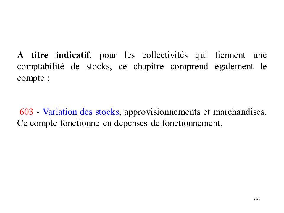A titre indicatif, pour les collectivités qui tiennent une comptabilité de stocks, ce chapitre comprend également le compte :
