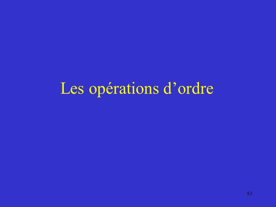Les opérations d'ordre