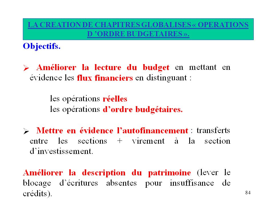 LA CREATION DE CHAPITRES GLOBALISES « OPERATIONS D 'ORDRE BUDGETAIRES ».