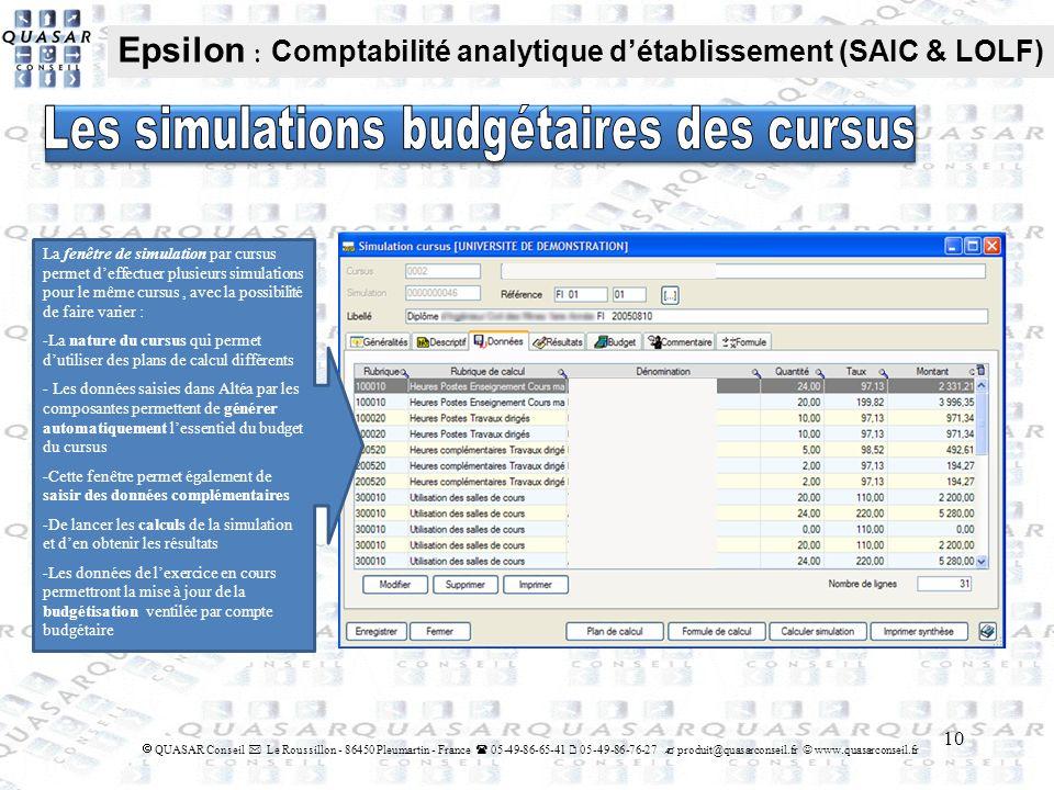 Les simulations budgétaires des cursus