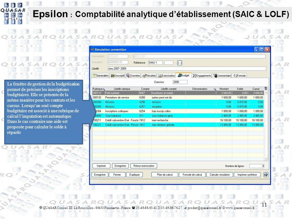 Epsilon : Comptabilité analytique d'établissement (SAIC & LOLF)