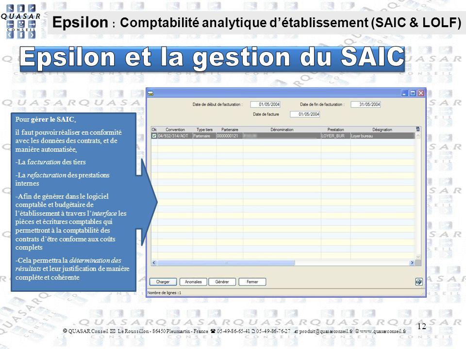 Epsilon et la gestion du SAIC