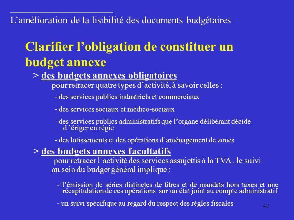 Clarifier l'obligation de constituer un budget annexe