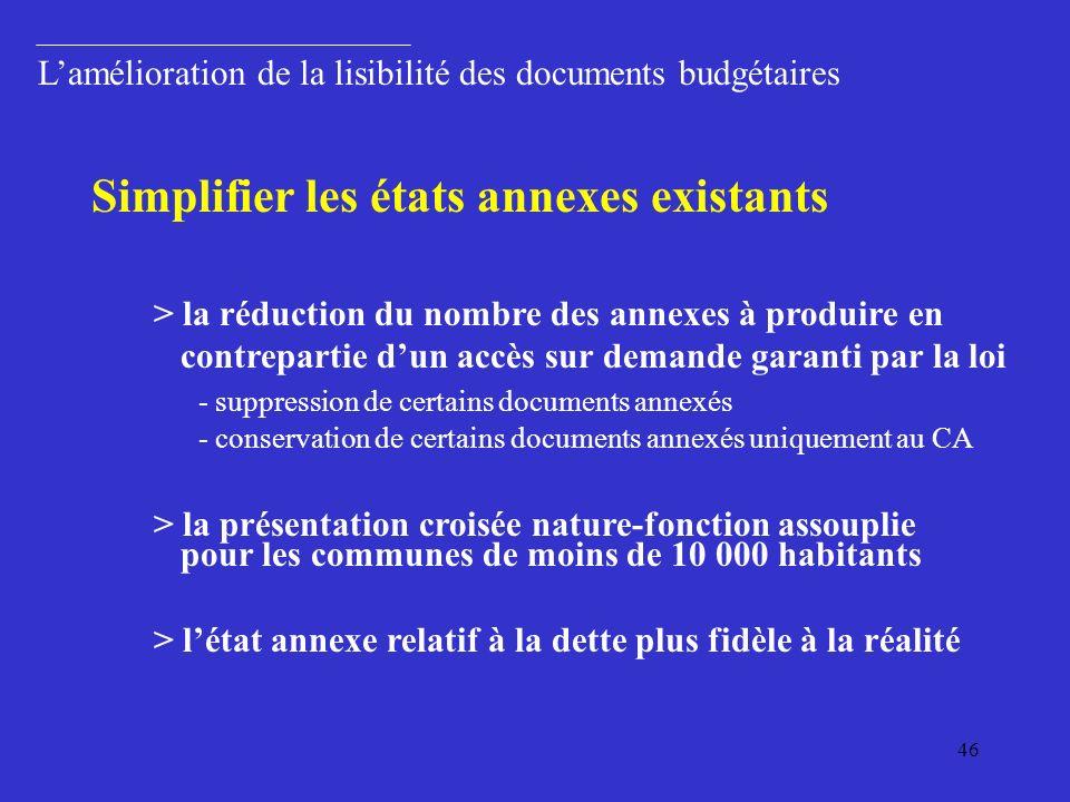Simplifier les états annexes existants
