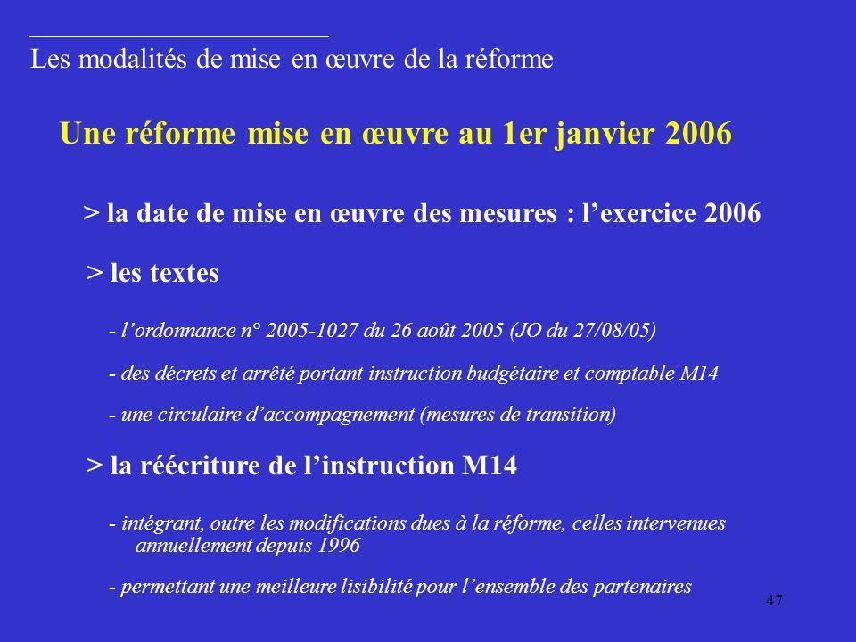 Une réforme mise en œuvre au 1er janvier 2006