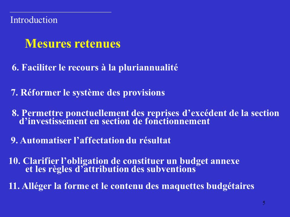 Mesures retenues Introduction