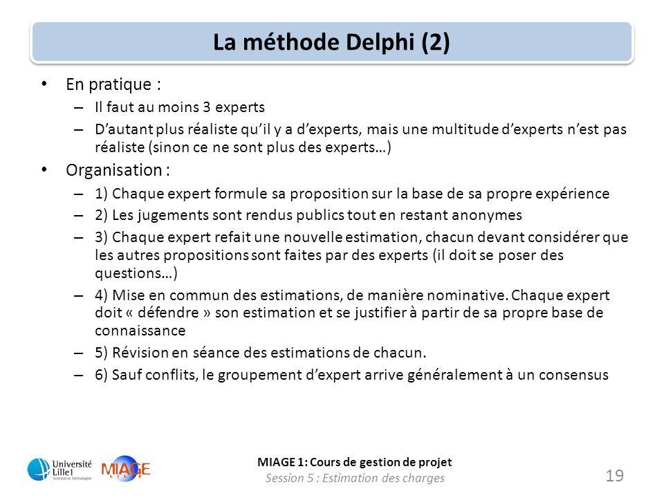 La méthode Delphi (2) En pratique : Organisation :