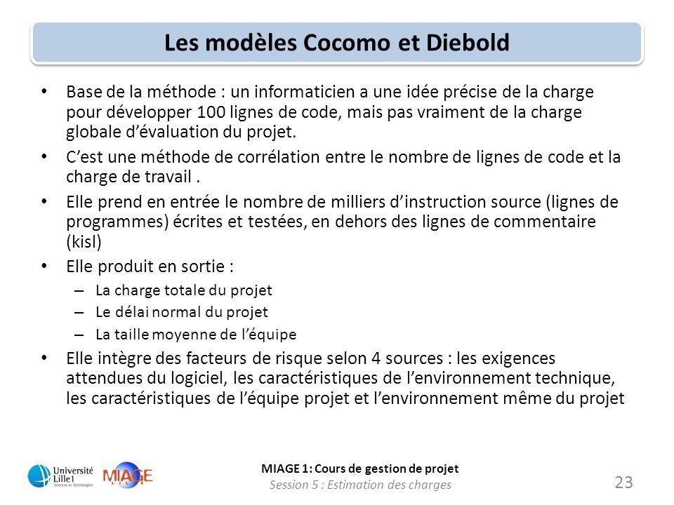 Les modèles Cocomo et Diebold