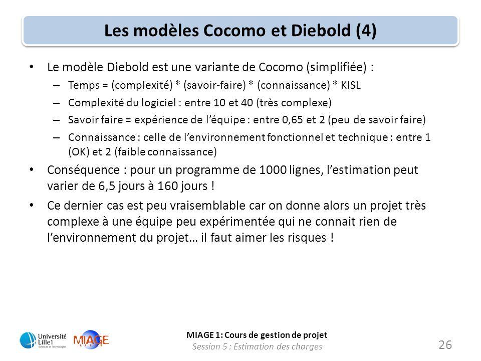 Les modèles Cocomo et Diebold (4)