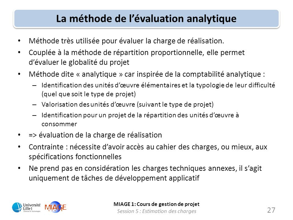 La méthode de l'évaluation analytique