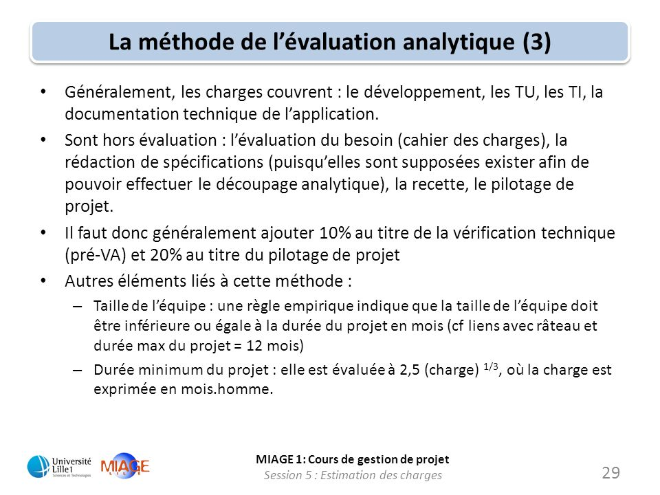 La méthode de l'évaluation analytique (3)