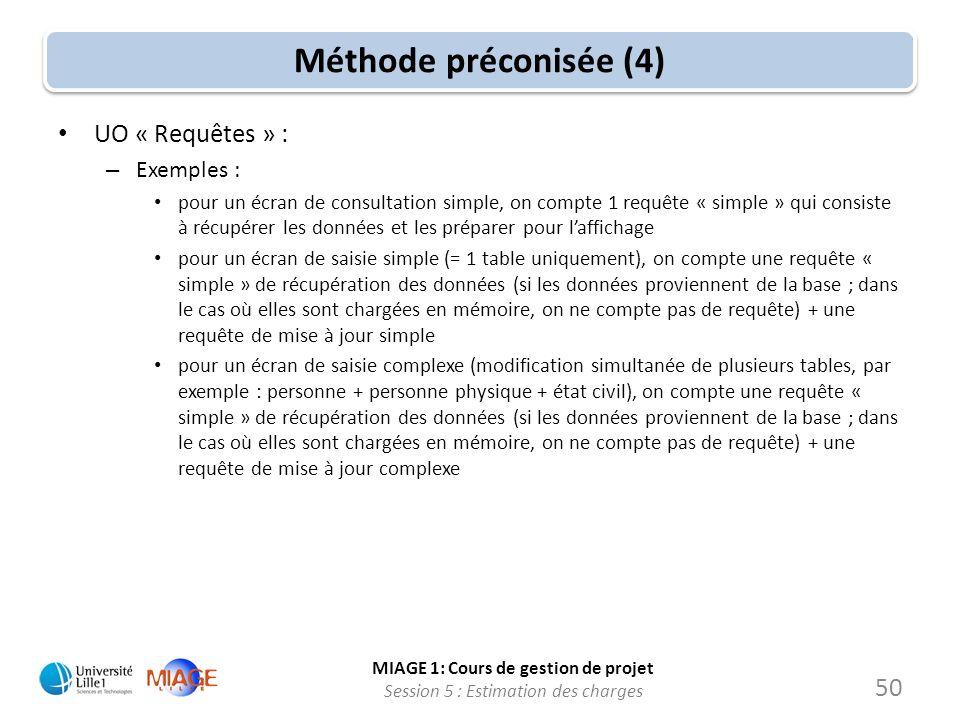 Méthode préconisée (4) UO « Requêtes » : Exemples :