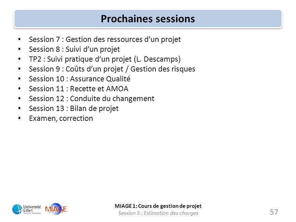 Prochaines sessions Session 7 : Gestion des ressources d'un projet