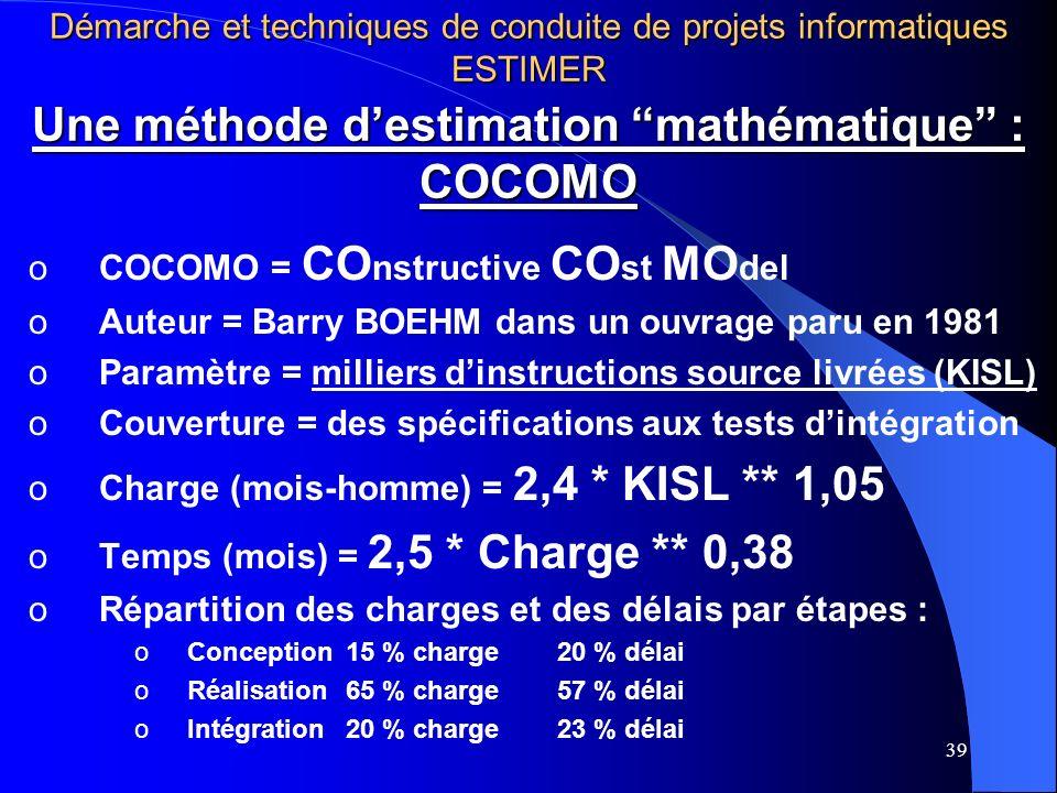 Une méthode d'estimation mathématique : COCOMO