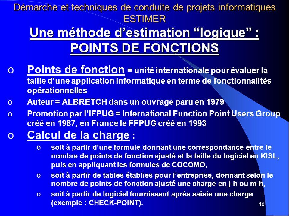 Une méthode d'estimation logique : POINTS DE FONCTIONS