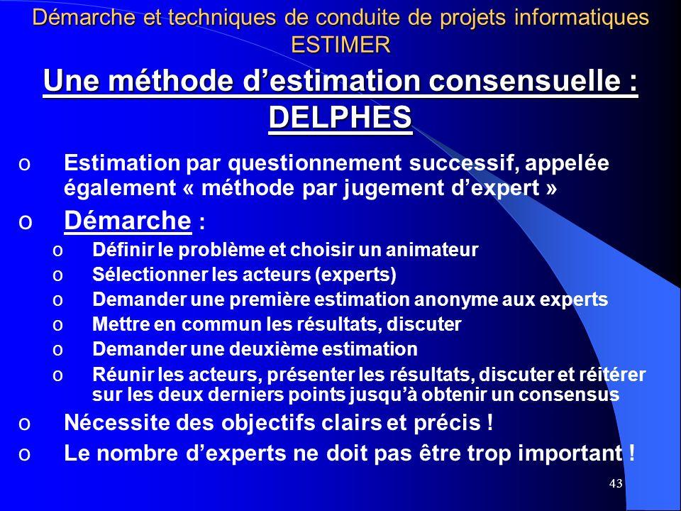 Une méthode d'estimation consensuelle : DELPHES