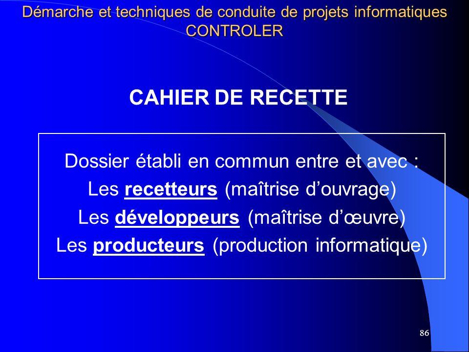 CAHIER DE RECETTE Dossier établi en commun entre et avec :