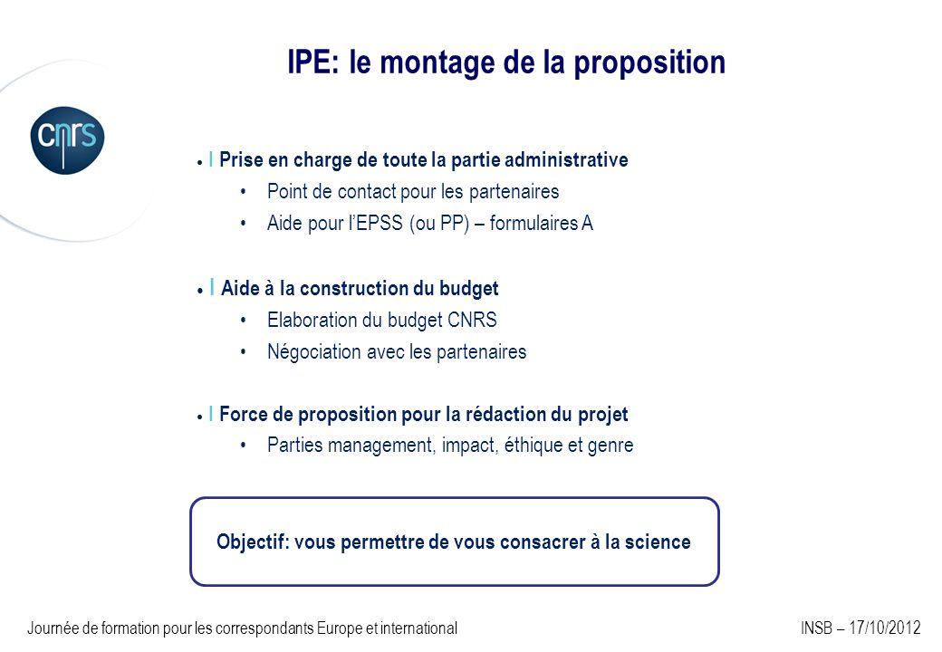 IPE: le montage de la proposition