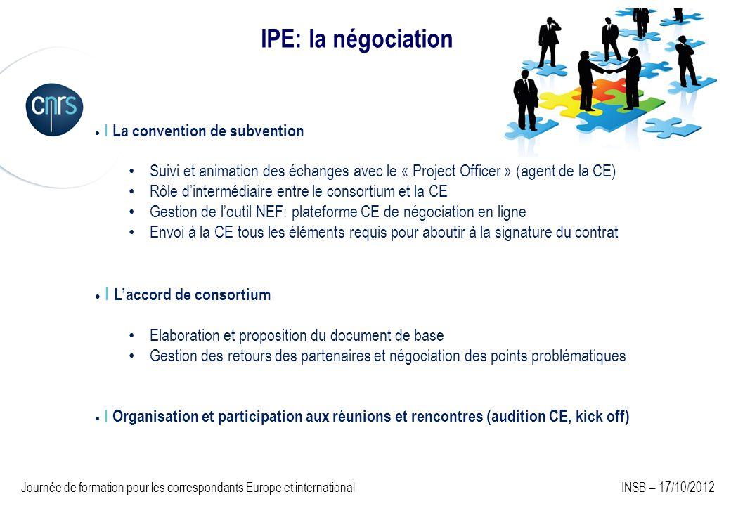 IPE: la négociation ● I La convention de subvention. Suivi et animation des échanges avec le « Project Officer » (agent de la CE)