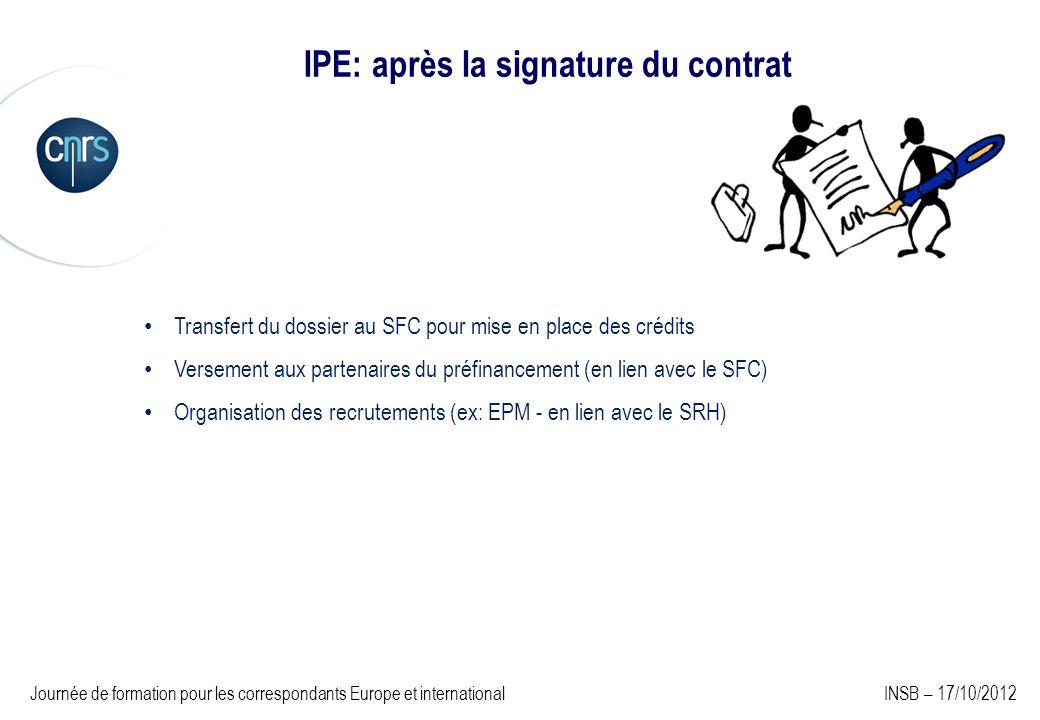 IPE: après la signature du contrat