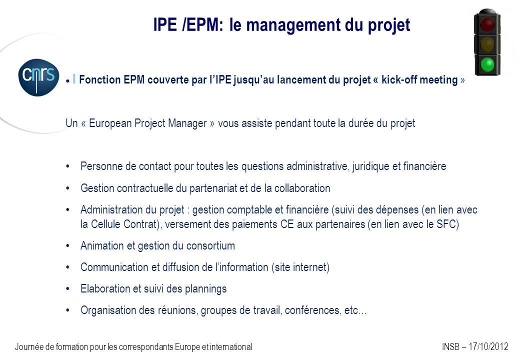 IPE /EPM: le management du projet