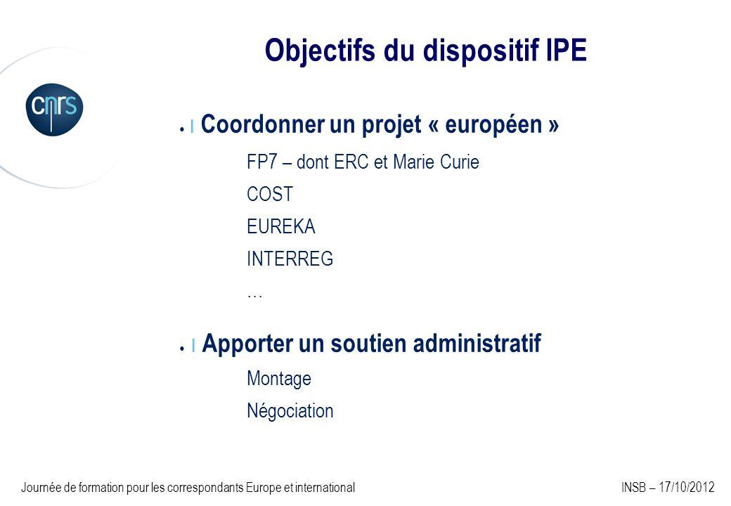 Objectifs du dispositif IPE