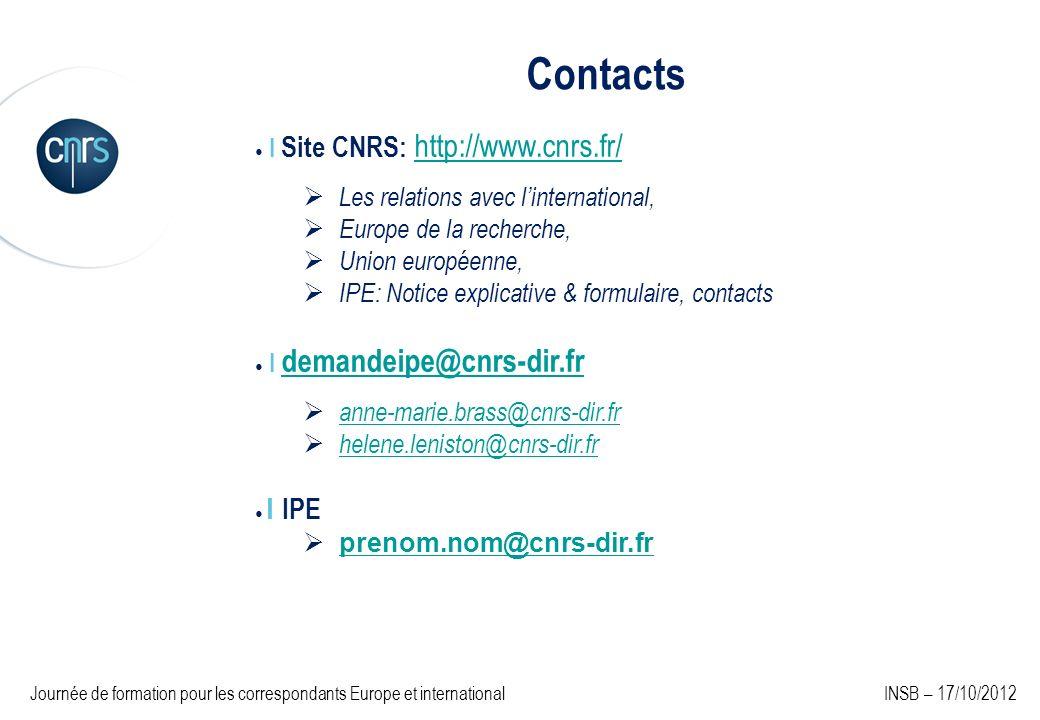 Contacts Les relations avec l'international, Europe de la recherche,