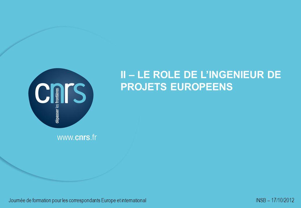 II – LE ROLE DE L'INGENIEUR DE PROJETS EUROPEENS