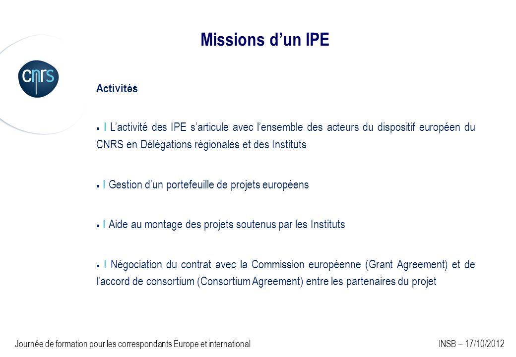 Missions d'un IPE Activités