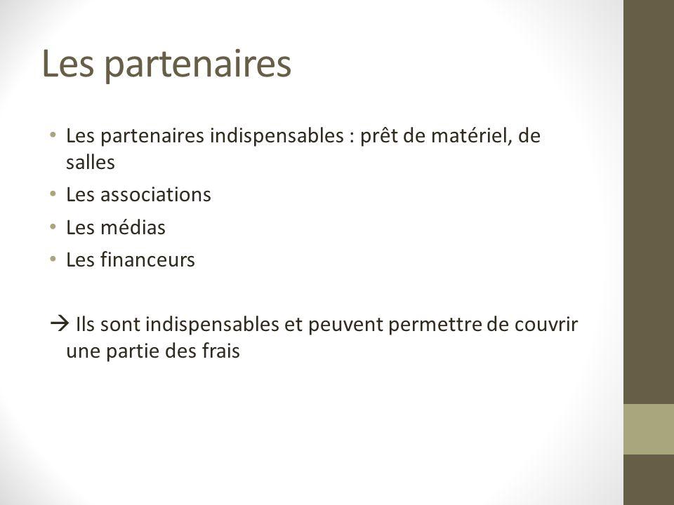 Les partenaires Les partenaires indispensables : prêt de matériel, de salles. Les associations. Les médias.